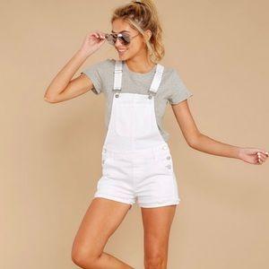 MARSH LANDING Petites White Jean Overall Shorts